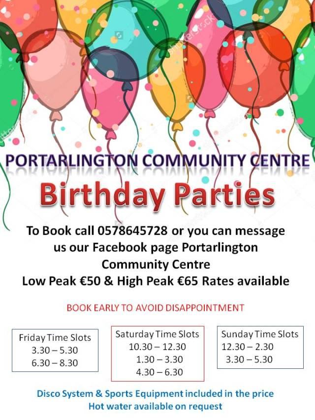 PCC Birthday Parties new times